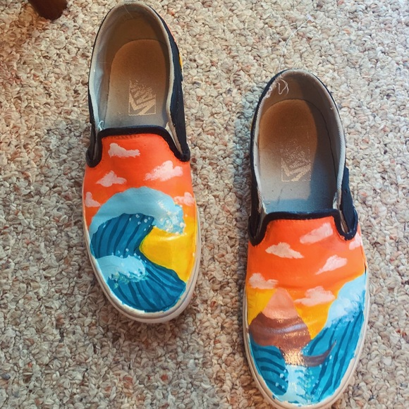 Painted Vans The Great Wave | Poshmark